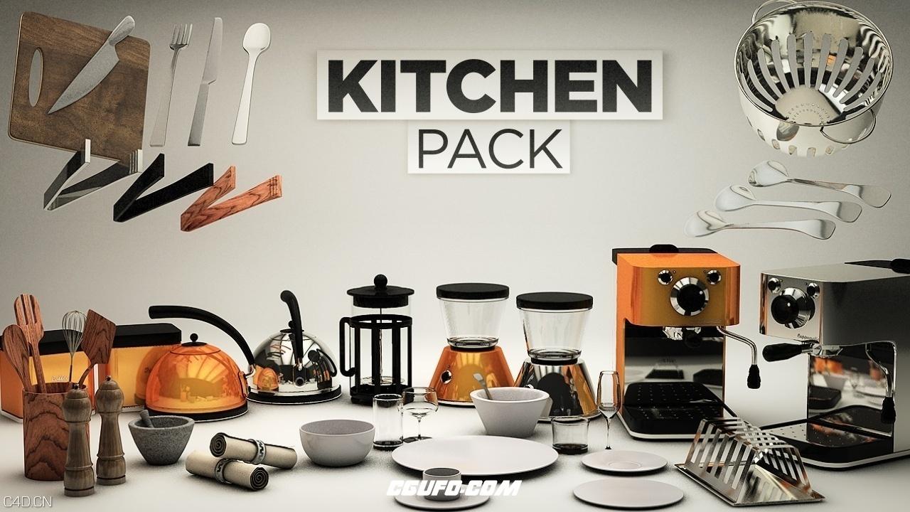 CINEMA 4D 厨房工具模型包合集 The Pixel Lab – Kitchen Pack