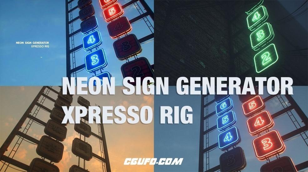 C4D霓虹灯广告牌文字标志绑定预设Neon Sign Generator Xpresso Rig
