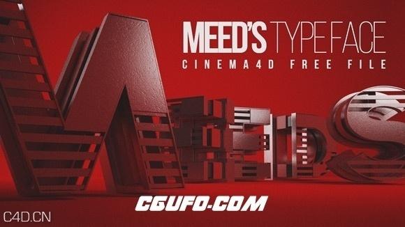 24个抽象字母模型预设 Meed Typeface