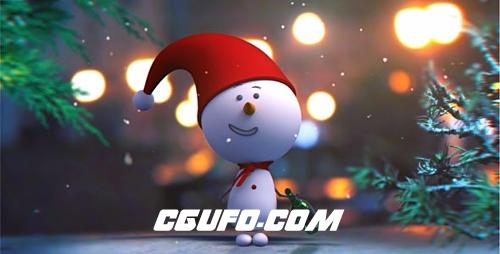 2715卡通雪人角色动画AE模版,Snowman Intro