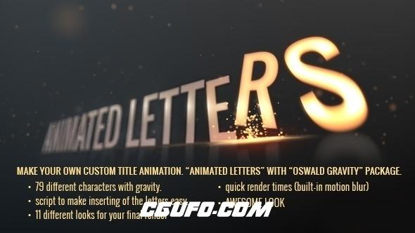 2777文字下落特效动画AE模版,Animated-Letters