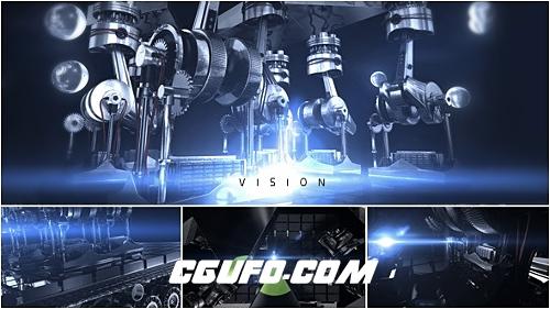 2780机器人logo演绎动画AE模版,Vision Logo Reveal