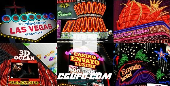 2791霓虹灯街道门店招牌动画AE模版,My Las Vegas