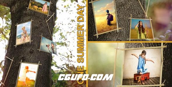 2807树上悬挂图片相册展示动画AE模版,One Summer Day