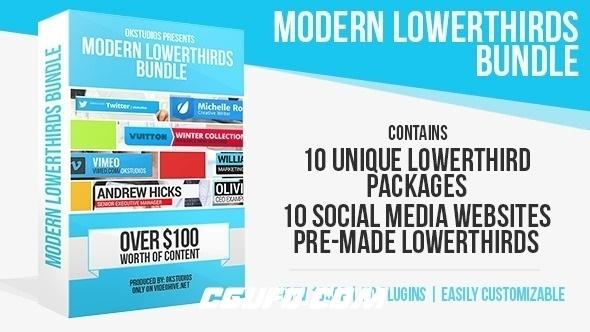 2864现代简洁风格字幕条动画AE模版,Modern Lower Thirds Bundle (10 in 1)