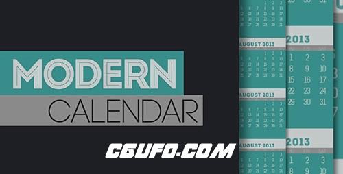 2883现代日记相册动画AE模版,Modern Calendar
