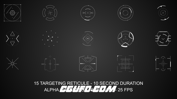 3098HUD高科技MG动画高清视频素材带通道,targeting reticule
