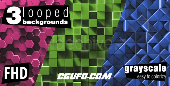 3114简洁的几何体动态背景高清视频素材,Simple Geometry Background Pack