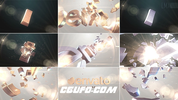 7381大气金色3D文字破碎汇聚logo演绎动画AE模版,3D Gold And Silver Shatter Logo