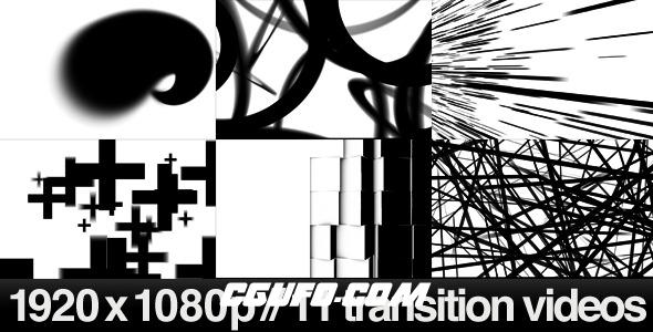 7396-11组创意转场特效带Alpha和亮度通道高清视频素材,11 HD Transitions Bundle – D