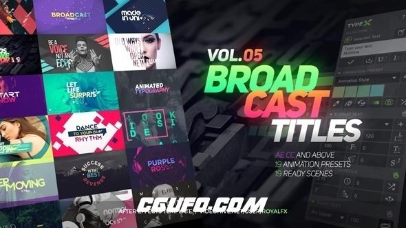 7421AE模板+脚本:时尚炫酷栏目包装文字标题动画制作工具包(工程文件+破解版脚本V1.4),Videohive – TypeX – Text Animation Tool | VOL.05: Broadcast Titles Pack