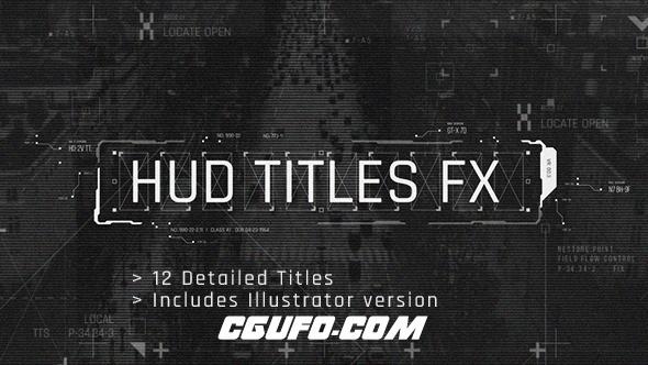 7433HUD高科技文字标题动画AE模版,HUD Titles FX