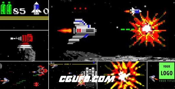 7471电玩游戏logo演绎动画AE模版,Logo Arcade Game 8 Bit