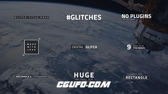 7554信号干扰文字特效动画AE模版,Glitch Text