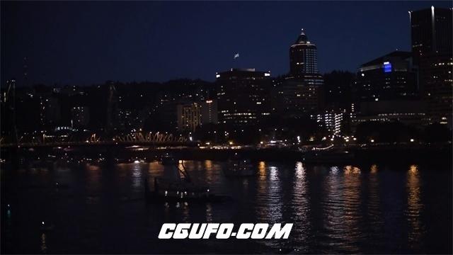 3371唯美城市夜景霓虹灯烟花高清实拍视频素材