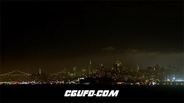 3402城市天空夜景大全景高清实拍视频素材