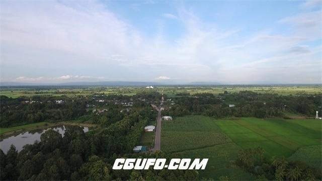 3430-广阔视野森林河流田园房屋建筑住宅高空无人机航拍高清实拍视频素材