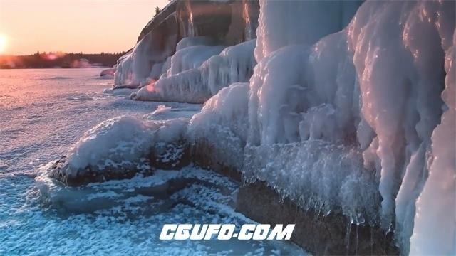 3442-唯美温暖日落寒冷天气雪地冰山冰雪融化自然风光景色高清实拍视频素材