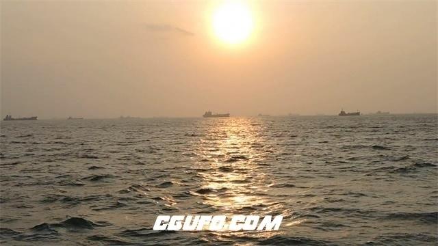 3443-夕阳正美日落照映水面上海浪波浪水波动荡船只行驶高清实拍视频素材