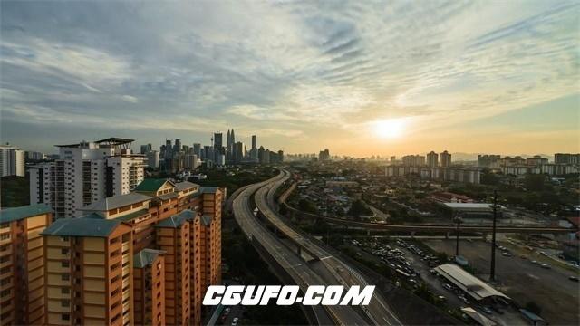 3455夜间城市高楼灯光时间流逝夕阳穿梭高清实拍视频素材