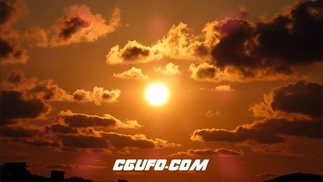 3468夏季天空白云橙色太阳日落黄昏高清实拍视频素材