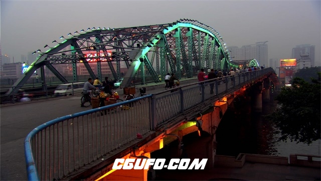 3472城市标志性桥梁人流高清实拍视频素材