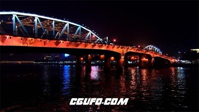 3473夜晚城市桥梁湖面高清实拍视频素材