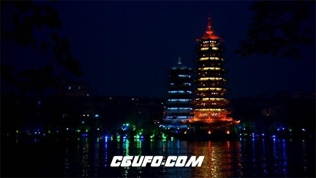 3475城市夜晚灯塔高清实拍视频素材