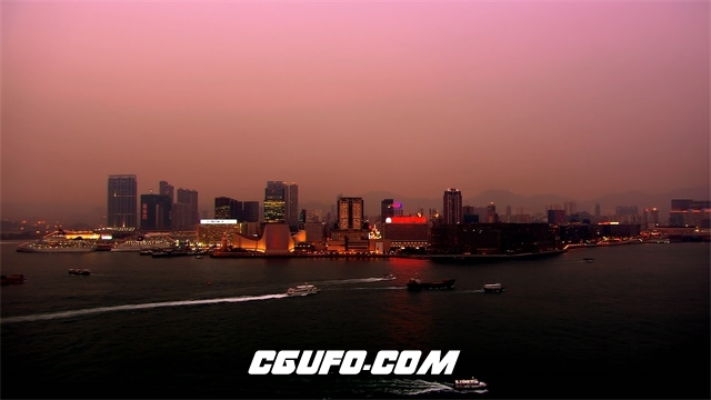 3477城市大全景江面行驶的轮船高清实拍视频素材