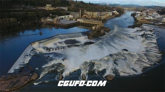3497-航拍4K城市大坝流水高清实拍视频素材