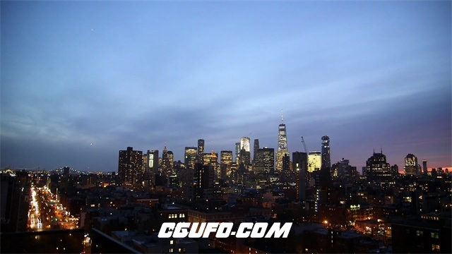 3509黄昏入夜城市高清实拍延时视频素材
