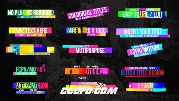 7565多彩的信号干扰特效文字标题动画AE模版,Colourful Glitch Titles 2