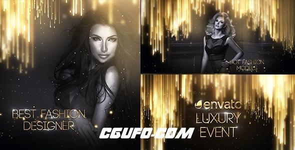 7573金色大气奢华粒子特效图片视频包装特效动画AE模版,Luxury Event