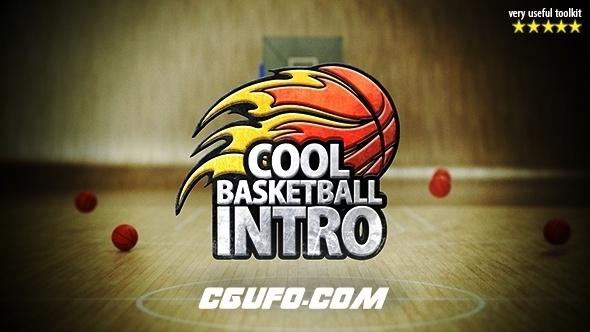 7575篮球类体育风格电视栏目包装动画AE模版,Cool Basketball Intro