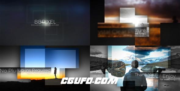 7610方形图片展示转场过渡动画AE模版,Expanding Box Slideshow