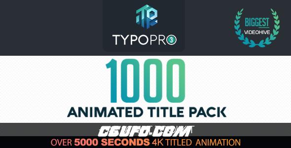 7644-1000组创意文字标题动画AE模版AE预设,Typopro   Typography Pack – Title Animation – Kinetic – Minimal – Vintage