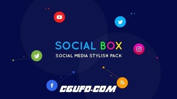 7666社交媒体MG动画宣传AE模版,SocialBox – Social Media Intro and Outro for Social Media Links Promotion