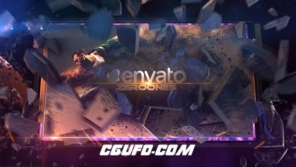7670史诗级文字图片展示动画电影包装特效AE模版,Exploding image reveal