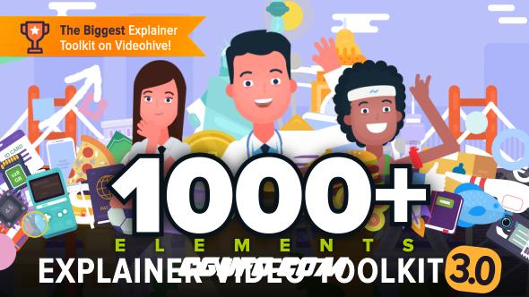 7672卡通MG动画人物角色动画标志动画素材包AE模版,Explainer Video Toolkit 3.5