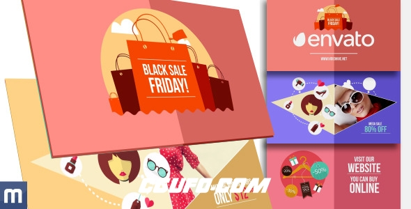7691卡通MG动画在线促销产品宣传动画AE模版,Black Friday Sale – Online Promo