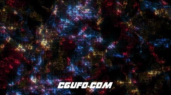7703辉光特效动态背景高清视频素材,Glowing Cubes Particles