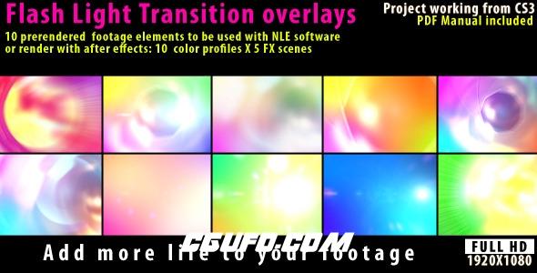 7711炫光闪光特效视频包装动画高清视频素材,Flash Light Transition Overlay Lense Pack