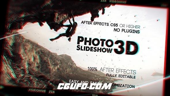 7716大气3D图片展示动画AE模版,Photo Slideshow 3D