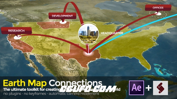 7719地球地图连接特效动画AE预设AE脚本AE模版,Earth Map Connections