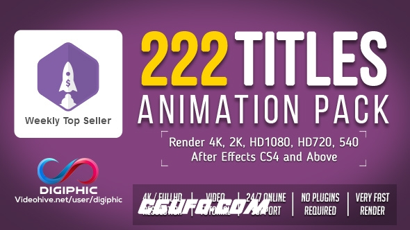 7743-200组标题文字特效动画AE模版,222 Titles Animation