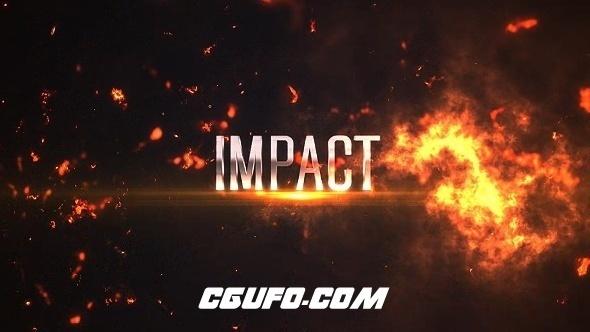 7763烈火燃烧文字标题动画AE模版,Impact Titles: Fire 4K