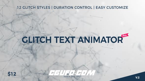 7768高科技文字干扰特效文字标题动画AE模版,Glitch Text Animator PRO