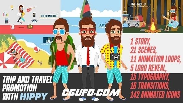 7794旅行旅游宣传视频卡通风格MG动画AE模版,Trip and Travel Promotion with Hippy