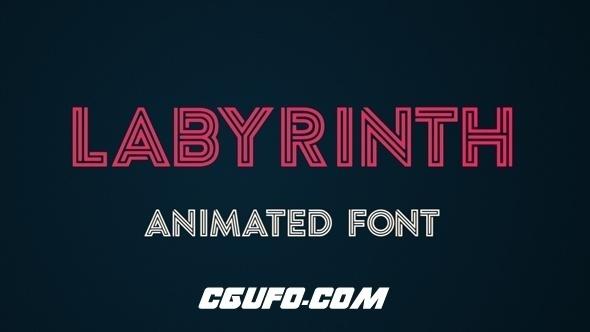 7801霓虹灯文字特效动画AE模版,Labyrinth Animated Font
