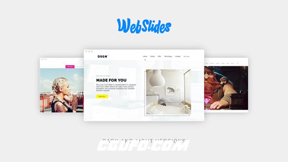 7581网页网站风格图片展示宣传动画AE模版,WebSlides